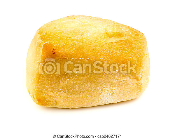 Macro closeup of tasty bread roll isolated on white - csp24627171