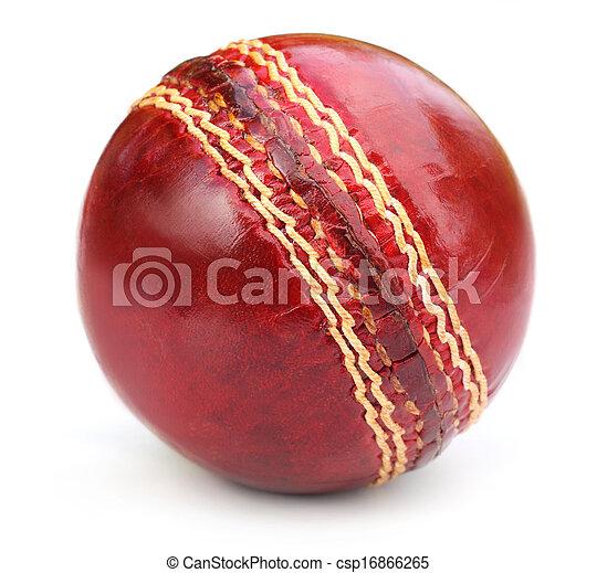 Macro of a cricket ball seam  - csp16866265