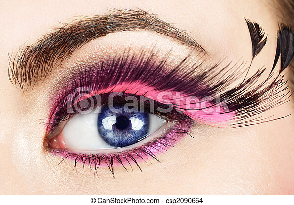 334f000d89a Macro of eye with fake eyelashes. Macro of woman\'s eye with long ...
