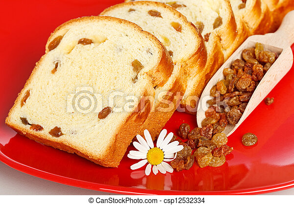 Macro of sweet loaf slices with raisins - csp12532334