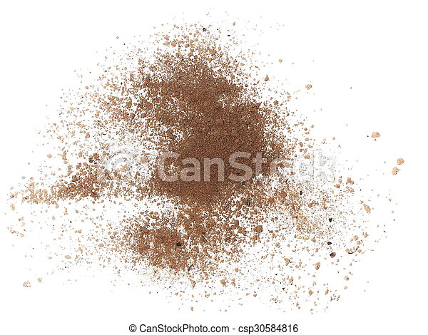 macro pile dirt isolated on white - csp30584816