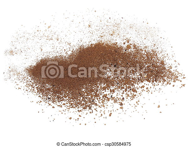 macro pile dirt isolated on white - csp30584975