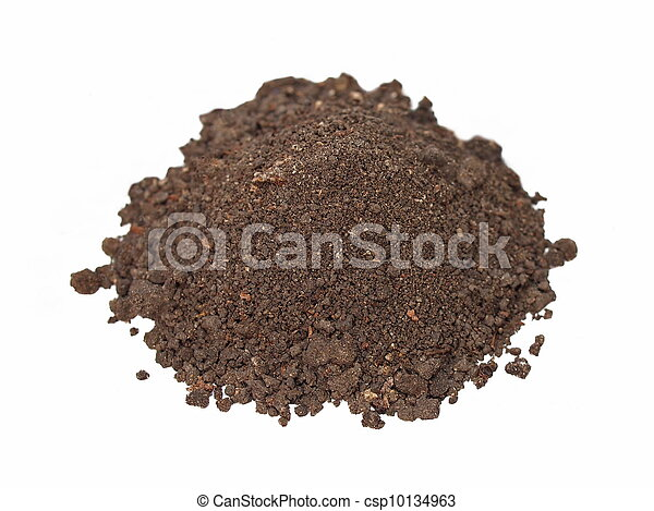 macro pile dirt isolated on white  - csp10134963