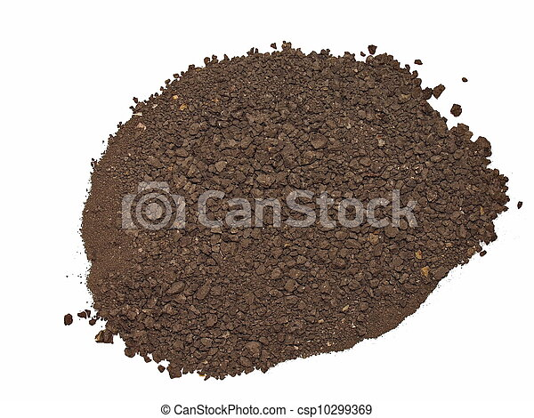 macro pile dirt isolated on white  - csp10299369