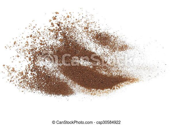 macro pile dirt isolated on white - csp30584922