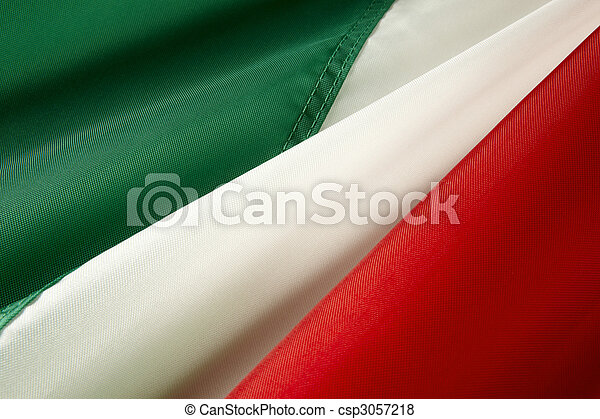 Macro shot of Italian flag - csp3057218