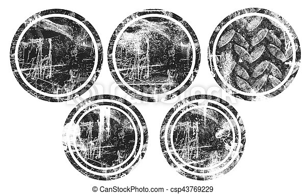 maculer, résumé, texture, élément, brosse, tache, circle. - csp43769229