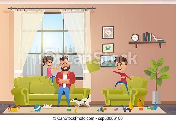 Mad Father at Home with Naughty Children Vector - csp58086100