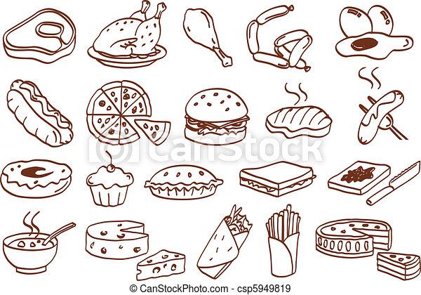 mad, sæt, ikon - csp5949819