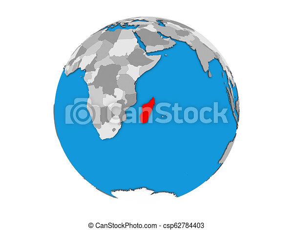 Madagascar on 3D globe isolated - csp62784403