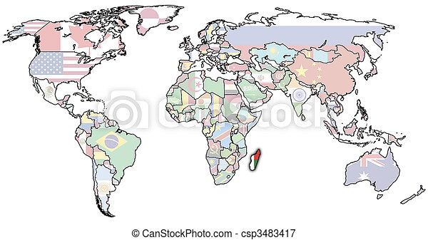 Madagascar on world map old political map of world with madagascar on world map csp3483417 gumiabroncs Gallery