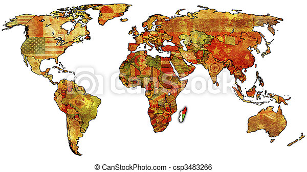 Madagascar on world map. Old political map of world with flag of ...