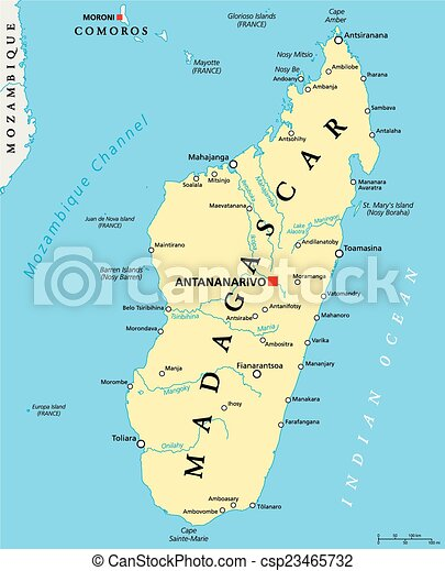 Madagascar political map with capital antananarivo national