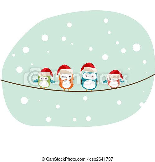 madarak, karácsonyi üdvözlőlap, tél - csp2641737