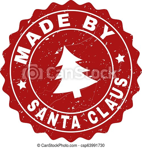 MADE BY SANTA CLAUS Scratched Stamp Seal with Fir-Tree - csp63991730