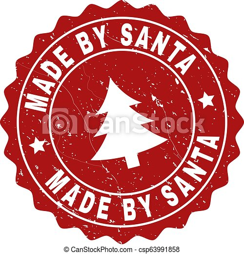 MADE BY SANTA Grunge Stamp Seal with Fir-Tree - csp63991858