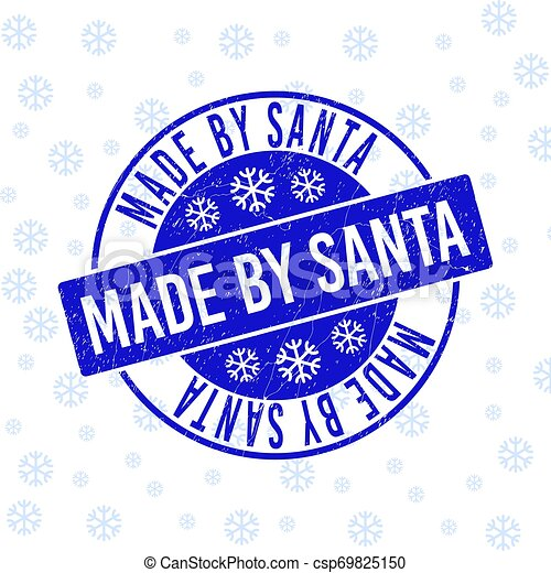 Made by Santa Scratched Round Stamp Seal for Christmas - csp69825150