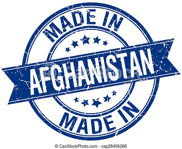 made in Afghanistan blue round vintage stamp - csp28456266