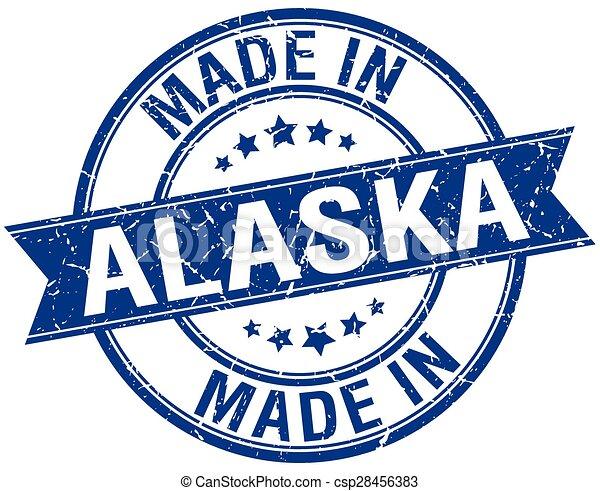 made in Alaska blue round vintage stamp - csp28456383