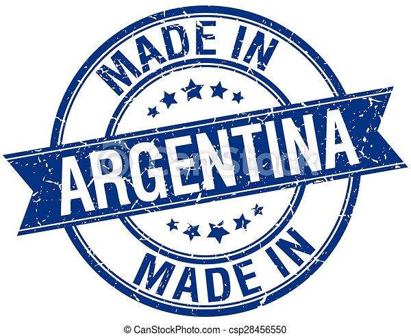 made in Argentina blue round vintage stamp - csp28456550