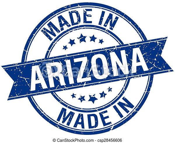 made in Arizona blue round vintage stamp - csp28456606