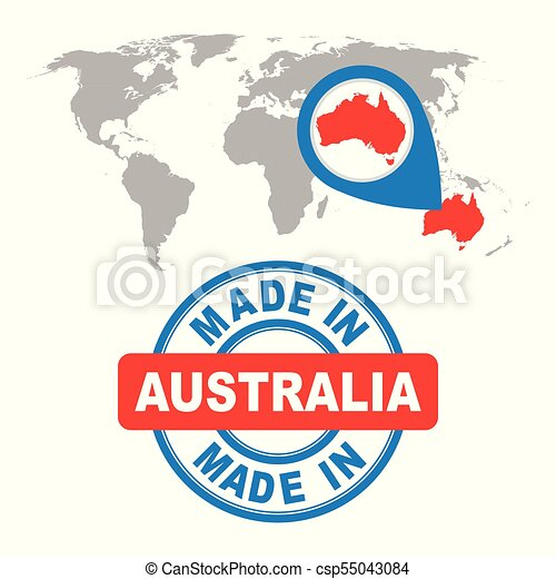 Made In Australia Stamp World Map With Red Country Vector Emblem