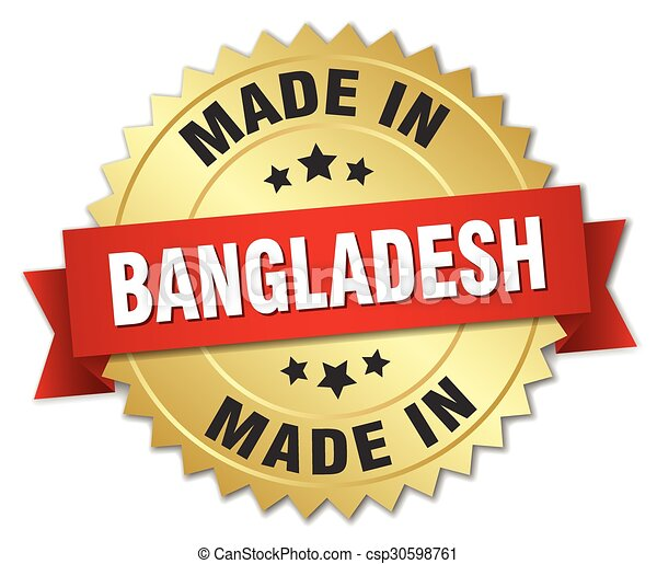 made in Bangladesh gold badge with red ribbon - csp30598761