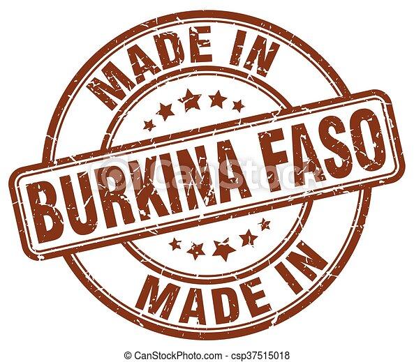 made in Burkina Faso brown grunge round stamp - csp37515018