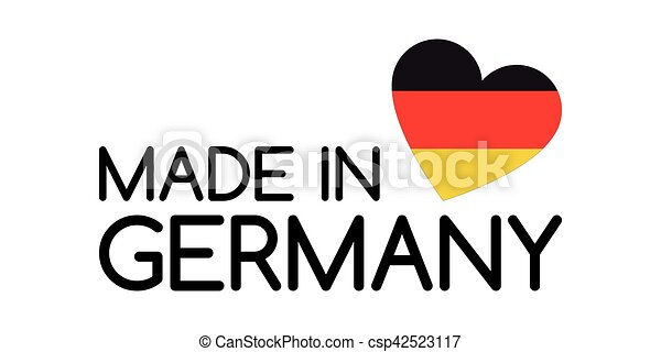 Made in Germany symbol with heart in the colors of the German tricolor - csp42523117