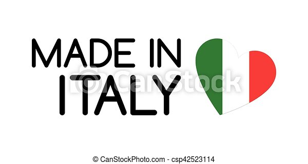Made in Italy symbol with heart in the colors of the Italian tricolor - csp42523114
