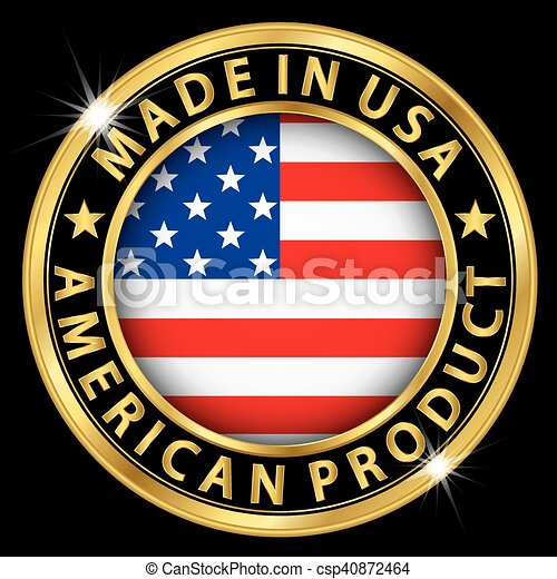 Made In The Usa American Product Gold Label With Flag Clip Art