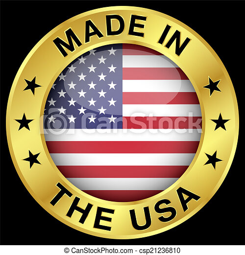 Made In The Usa Gold Badge Made In The Usa Gold Badge And Icon With
