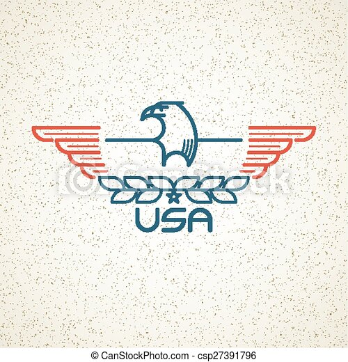 Made in the USA Symbol with American flag and eagle templates emblems. Vector illustration - csp27391796