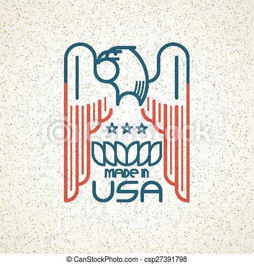 Made in the USA Symbol with American flag and eagle templates emblems. Vector illustration - csp27391798