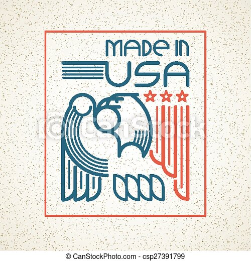 Made in the USA Symbol with American flag and eagle templates emblems. Vector illustration - csp27391799