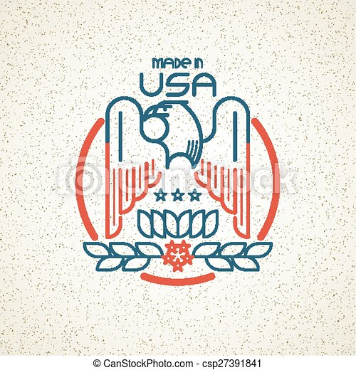 Made in the USA Symbol with American flag and eagle templates emblems. Vector illustration - csp27391841