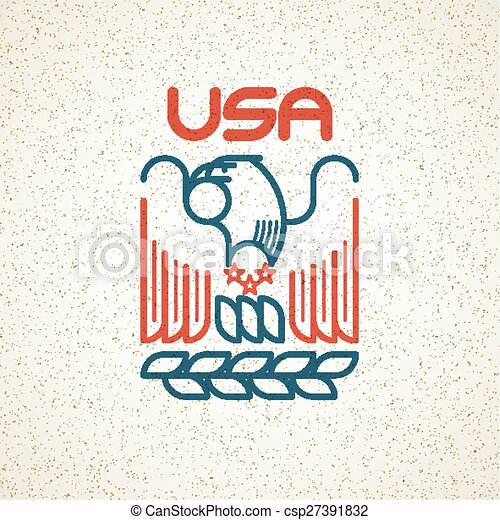 Made in the USA Symbol with American flag and eagle templates emblems. Vector illustration - csp27391832
