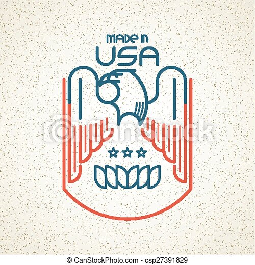 Made in the USA Symbol with American flag and eagle templates emblems. Vector illustration - csp27391829