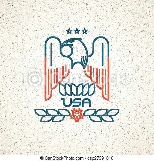 Made in the USA Symbol with American flag and eagle templates emblems. Vector illustration - csp27391810
