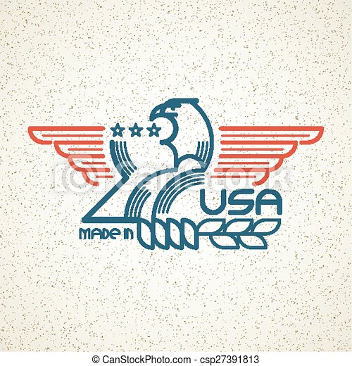Made in the USA Symbol with American flag and eagle templates emblems. Vector illustration - csp27391813