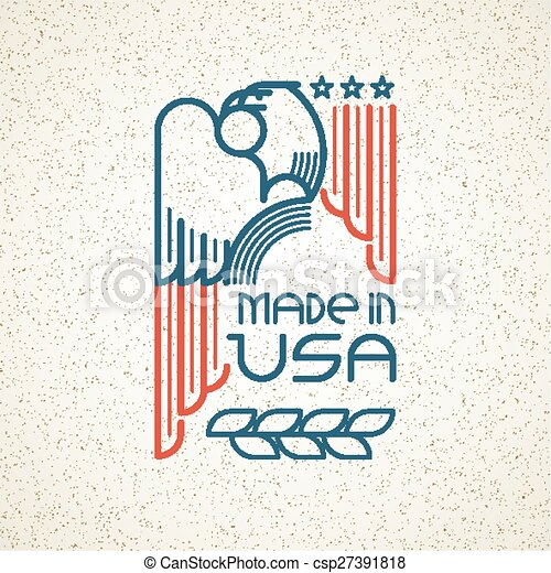 Made in the USA Symbol with American flag and eagle templates emblems. Vector illustration - csp27391818