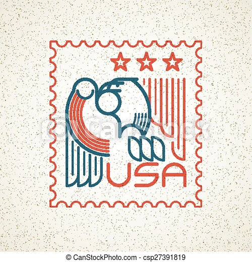 Made in the USA Symbol with American flag and eagle templates emblems. Vector illustration - csp27391819
