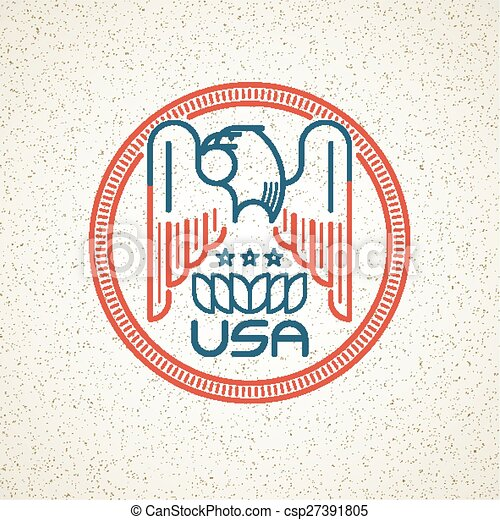 Made in the USA Symbol with American flag and eagle templates emblems. Vector illustration - csp27391805