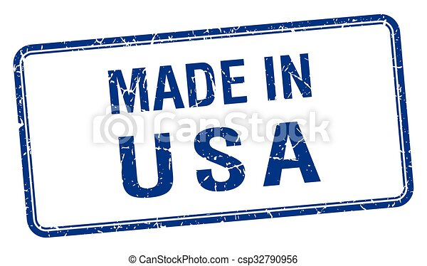 made in usa blue square isolated stamp - csp32790956