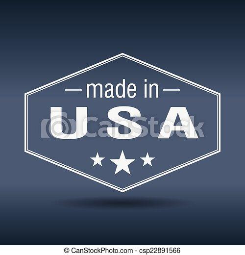 made in USA hexagonal white vintage label - csp22891566
