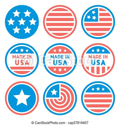 Made in USA Labels Set. Vector - csp37816407