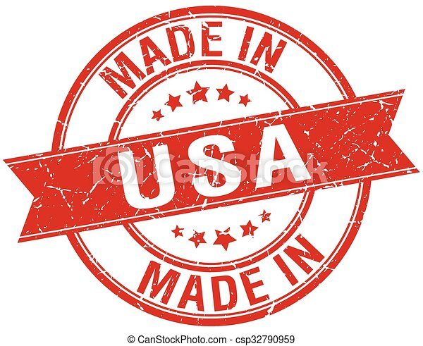 made in usa red round vintage stamp - csp32790959