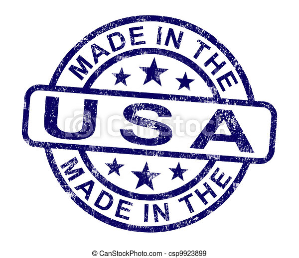 Made In Usa Stamp Shows Product Or Produce Of America - csp9923899