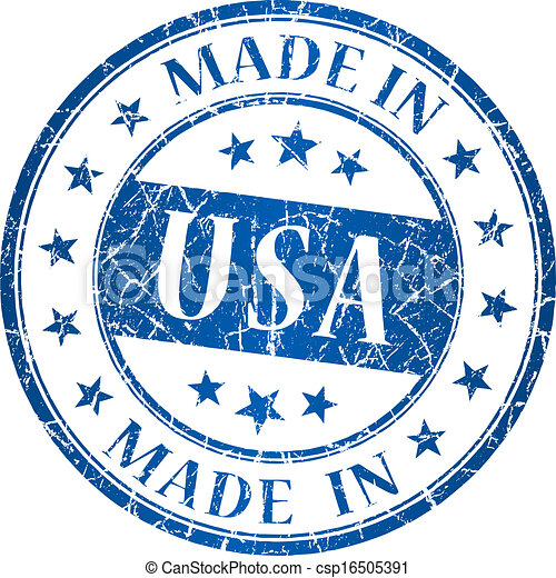 Made in usa vector round blue stamp - csp16505391