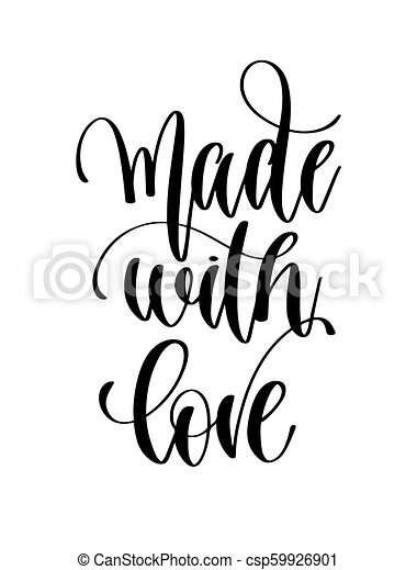 Made With Love Black And White Hand Lettering Text